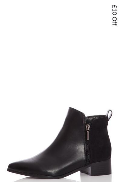 Black Zip Detail Ankle Boots